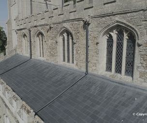 Using drones to check the church roof