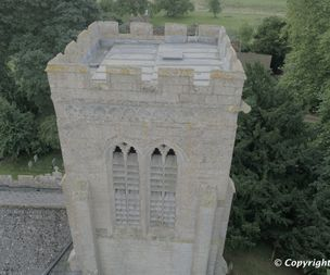Inspecting a church tower with a drone