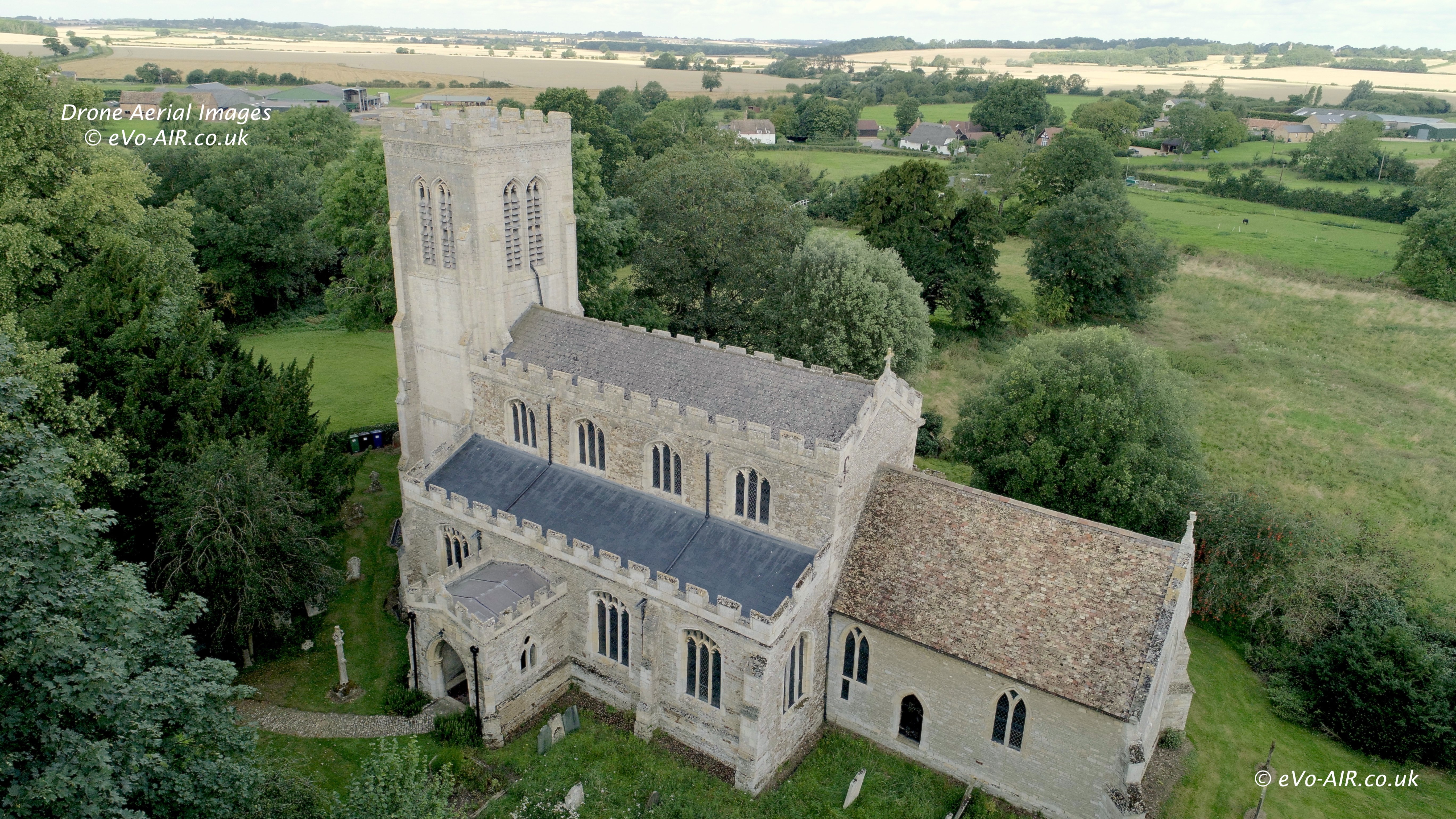 Drone aerial photograph of a church for a quinquennial inspection
