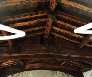 Internal photos of church rafters and ceilings