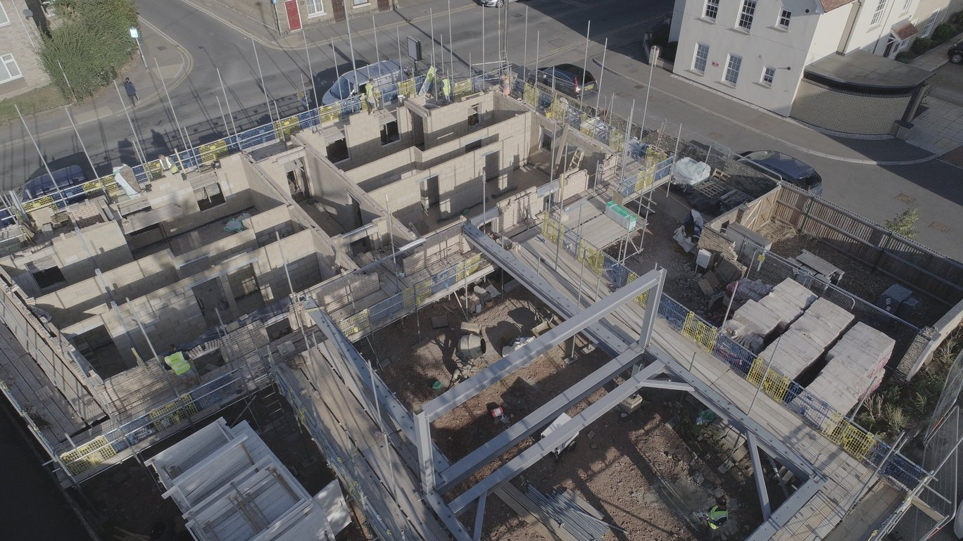 Drone aerial photograph of building works